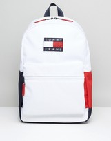 Tommy Jeans Nylon Backpack Icon Colours In White