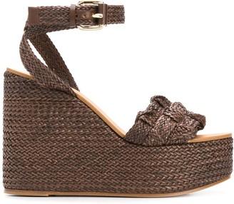 Casadei Woven Wedge Sandals