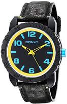 Sprout Men's ST/7011BKBK Black and Yellow Watch with Black Natural Cork Strap