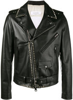 Valentino biker jacket - men - Cotton/Calf Leather/Cupro/metal - 48