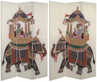 Oriental Furniture Handmade 6' Double Sided Raja's Elephant Canvas Room Divider