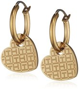 Tommy Hilfiger Women's Gold-Plated Stainless-Steel Earrings with Hanging Etched Heart Charm