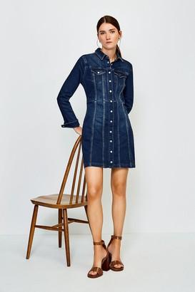 Karen Millen Popper Front Denim Shirt Dress