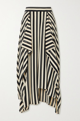 Loewe Asymmetric Draped Striped Twill Midi Skirt - Black