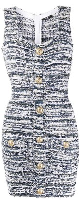 Balmain Boucle Button Detail Dress