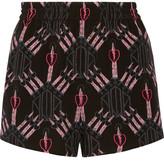 Valentino Love Blades Printed Silk Crepe De Chine Shorts - Black