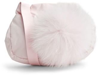 Bimbalo Fox Fur-Trim Pom-Pom Bag