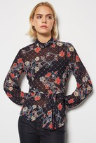 Black Flower Tie Waist Blouse