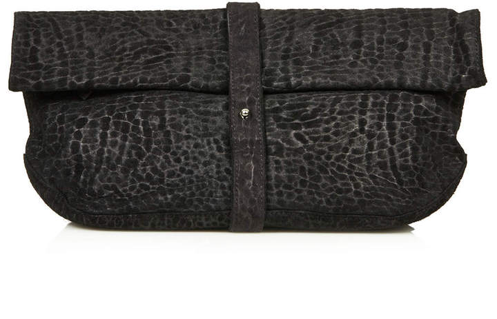 Topshop Embossed snake effect suede clutch