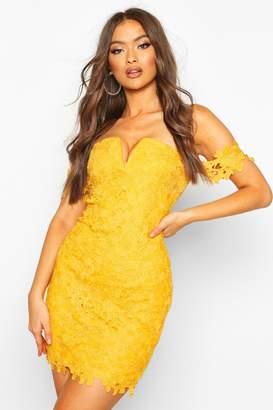 boohoo Off The Shoulder V Bar Lace Mini Dress