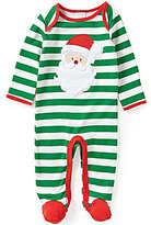 Starting Out Baby Boys Newborn-9 Months Christmas Santa Face-Appliqued Striped Coverall