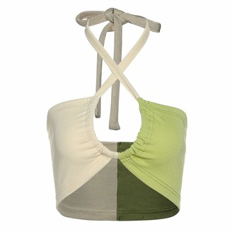 N /C Women's Sexy Halter Tube Top Contrast Color Camisole Lace-up Backless Sleeveless Crop Top (Green L)