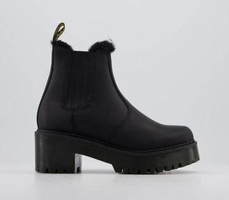 Dr. Martens Rometty Fur Lined Chelsea Boots Black Milo Fur