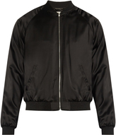 Saint Laurent Snake-appliqué satin bomber jacket