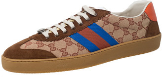 Gucci Brown GG Canvas and Suede Web G74 Sneakers Size 46