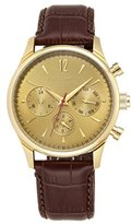 Vince Camuto Men's VC/1078GDGP The Chairman Multi-Function Dial Brown Croco-Grain Leather Strap Watch