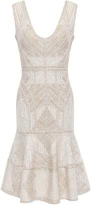 Herve Leger Tiered Metallic Jacquard-knit Dress