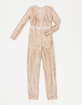 Goddiva embellished plunge jumpsuit in gold