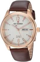 Ben Sherman Men's 'The Sugarman Heritage' Quartz Gold and Leather Casual Watch, Color:Brown (Model: WBS105TRG)