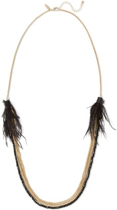 New York & Co. Feather-Accent Beaded Layered Necklace
