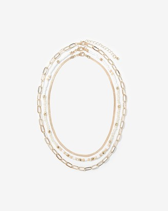Express Set Of Three Beaded Chain Metal Necklaces