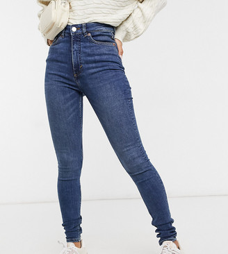 Monki Oki skinny high waist jeans with organic cotton in new mid blue