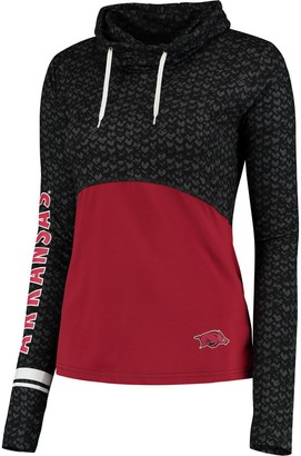 Colosseum Women's Black/Scarlet Arkansas Razorbacks Scaled Cowl Neck Pullover Hoodie