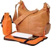 OiOi Tan Lamb Leather Diaper Bag with Bright Patent Trim - Orange