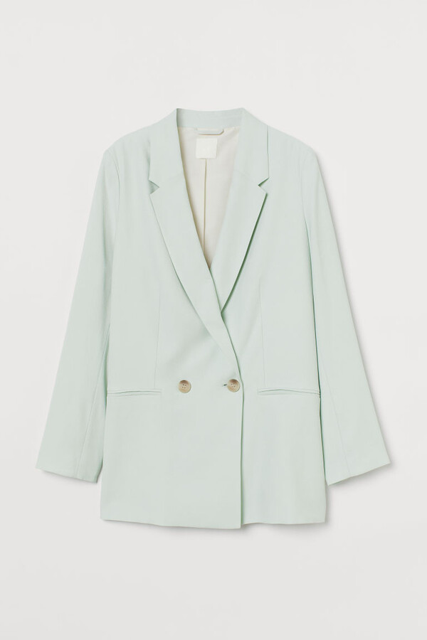 H&M Double-breasted Jacket - Turquoise