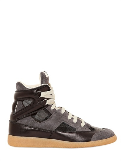 Maison Martin Margiela 20mm Suede & Calfskin High Top Sneakers