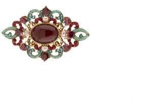 Satellite Women's Gold Plated Multicolour Stones Freshwater Pearls Plum Feminine Gabriella Brooch