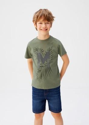 MANGO Printed logo T-shirt khaki - 8 - Kids