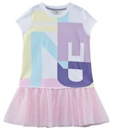 Fendi White Branded Jersey and Tulle Dress