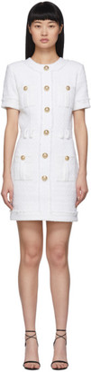 Balmain White Tweed Buttoned Dress