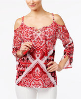 INC International Concepts Petite Printed Cold-Shoulder Peasant Top, Only at Macy's