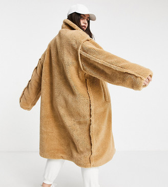 Sixth June Plus oversized overcoat in teddy borg