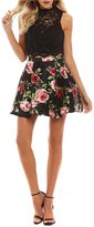 B. Darlin Mock Neck Lace Top with Floral Print Skirt Two-Piece Dress