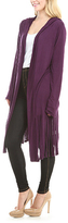 Celeste Purple Fringe Hooded Open Cardigan