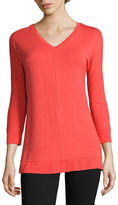 Liz Claiborne 3/4-Sleeve Dolman V-Neck Tunic