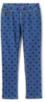Classic Little Girls Pull-On Denim Pattern Jeggings-Indigo Dot
