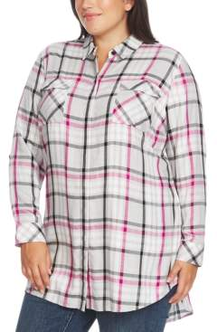 Vince Camuto Plus Size Highlighter Plaid 2-Pocket Tunic