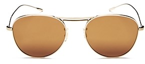 Oliver Peoples Women's Cade Brow Bar Mirrored Aviator Sunglasses, 51mm