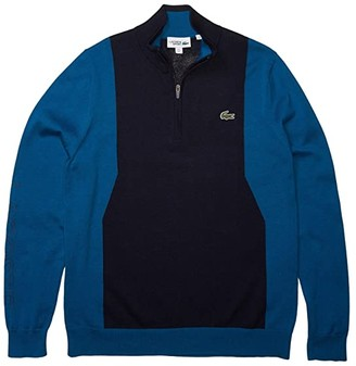 Lacoste Long Sleeve 1/4 Zip Sweater (Navy Blue/Mariner/Navy Blue) Men's Clothing