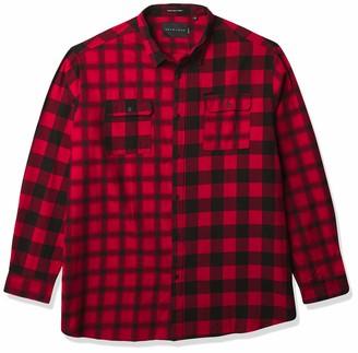 Sean John Men's Big & Tall Long Sleeve Button Down Color Blocked Check Shirt