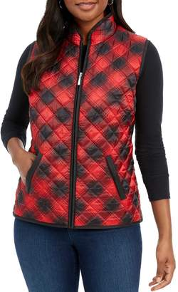 Karen Scott Petite Plaid Full-Zip Vest