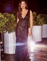 Jessica Wright Vip Embellished Deep V Neck Maxi Dress
