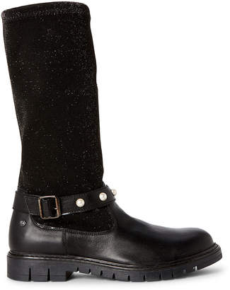Naturino (Toddler/Kids Girls) Black Shimmer Stretch Knee-High Boots