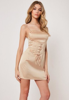 Missguided Champagne Satin Cami Corset Dress