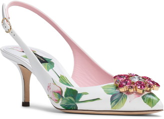 Dolce & Gabbana Rose Embellished Pointed Toe Slingback Pump