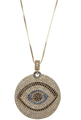 Eye Candy La Luxe 14K Goldplated Sterling Silver Crystal Evil Eye Pendant Necklace
